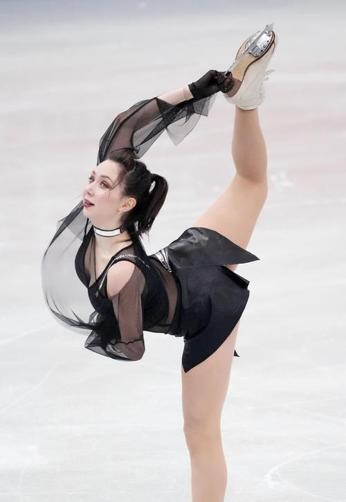 女子SPで演技するエリザベータ・トゥクタミシェワ(代表撮影)