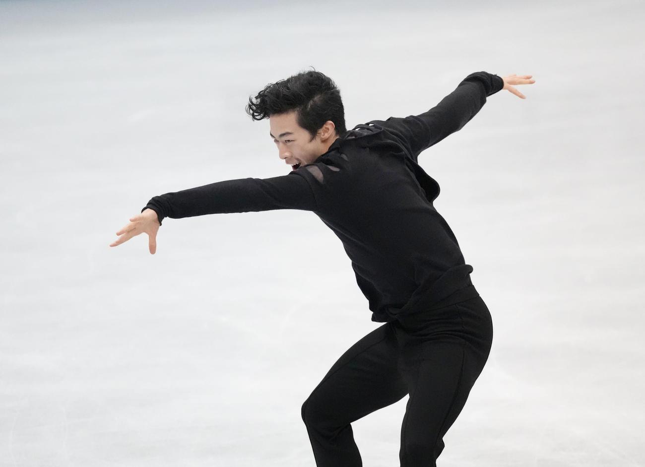 男子フリー 演技するネーサン・チェン(代表撮影)