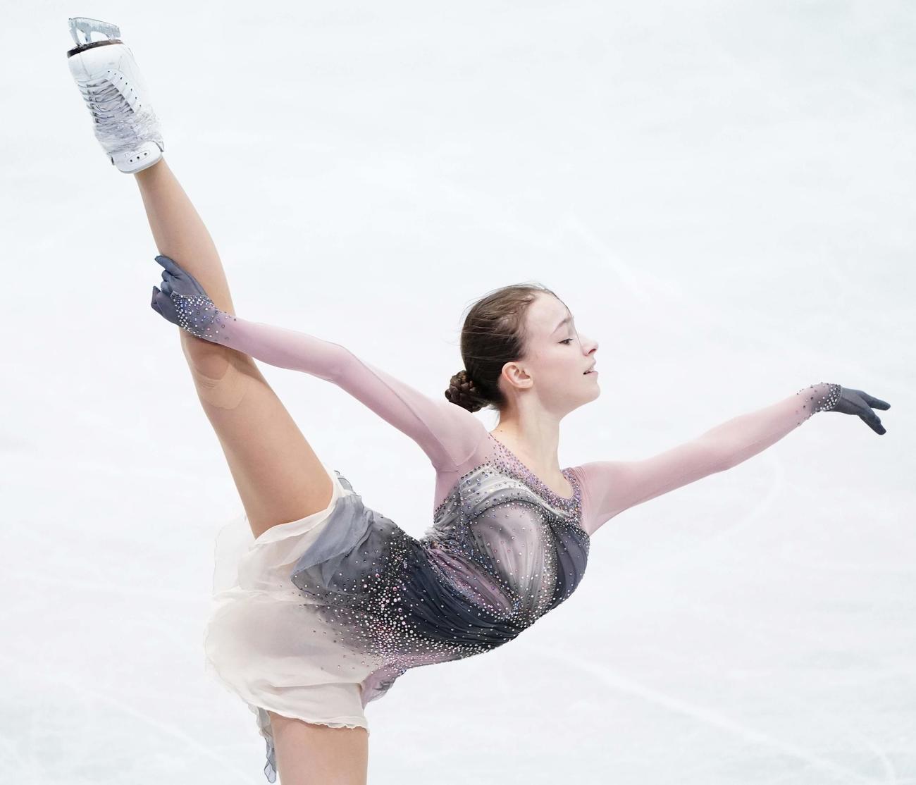 フリーに向けて練習するシェルバコワ(代表撮影)