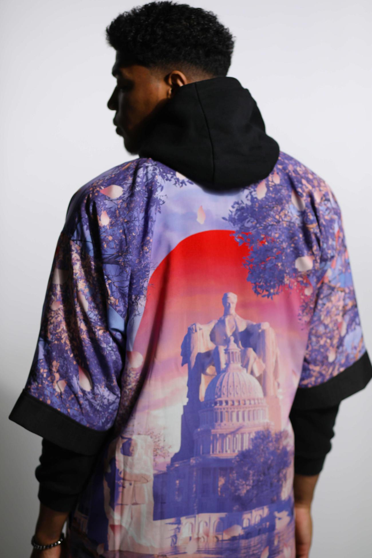 「ブラックサムライDC桜版Kimono」を着用するNBAウィザーズの八村(c)Wasserman/Athlete Exchange