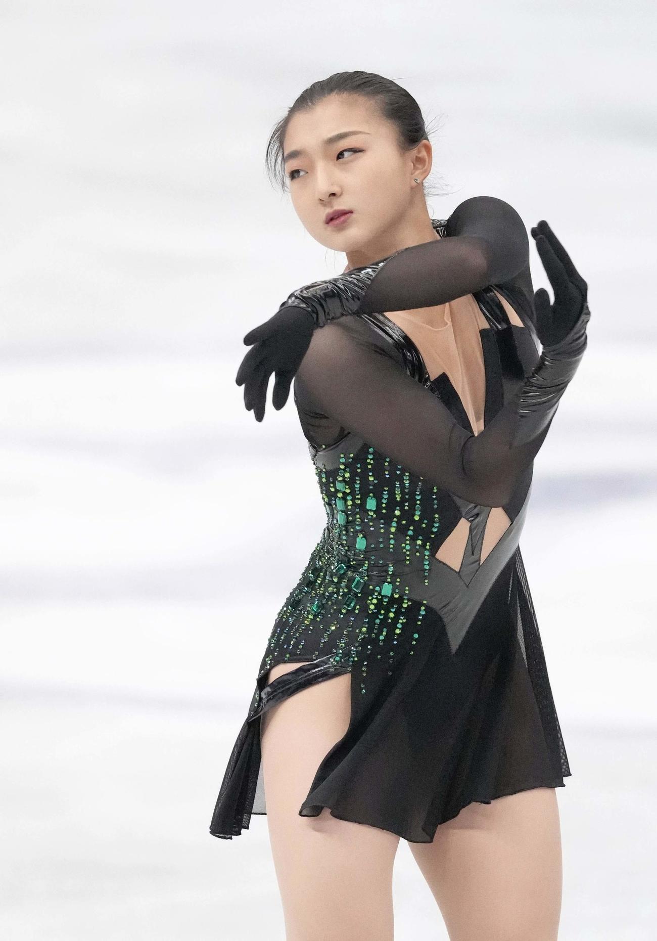 21年4月17日、国別対抗戦女子フリーで演技する坂本