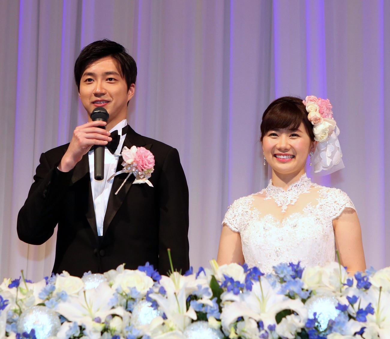 江宏傑氏(左)と福原愛さん(2017年2月5日撮影)