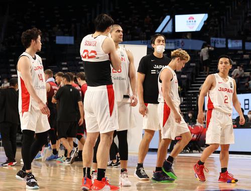 日本代表対ベルギー代表 ベルギー代表に敗れ、引き揚げる日本代表の選手たち(代表撮影)