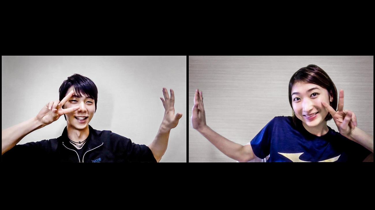文藝春秋「Sports Graphic Number」第1031号で初対談した競泳女子の池江璃花子(右)とフィギュアスケート男子の羽生結弦