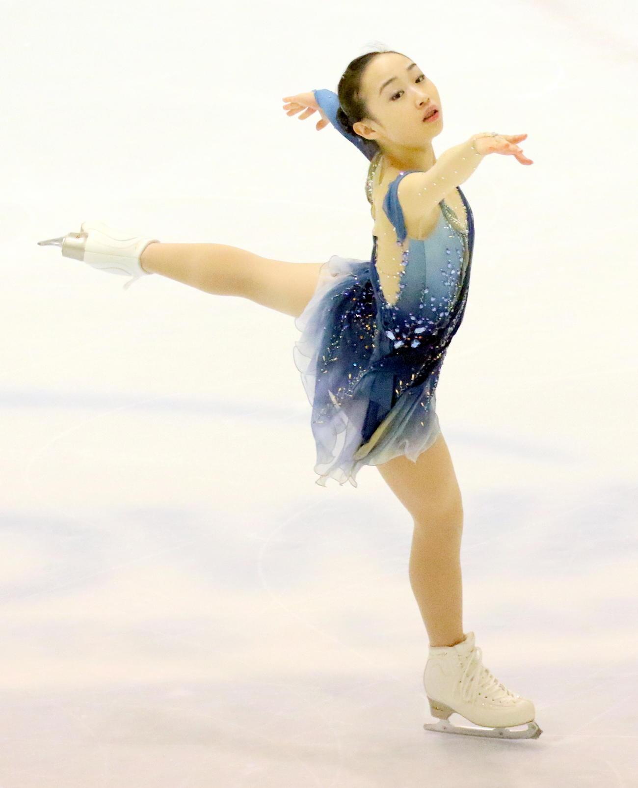 フィギュアスケート中部選手権 女子フリー シニア転向1年目で初優勝した松生理乃(撮影・木下淳)
