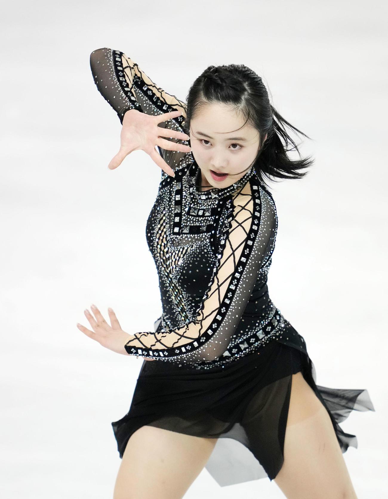 2021東京選手権大会 女子SPで演技する本田望(撮影・横山健太)
