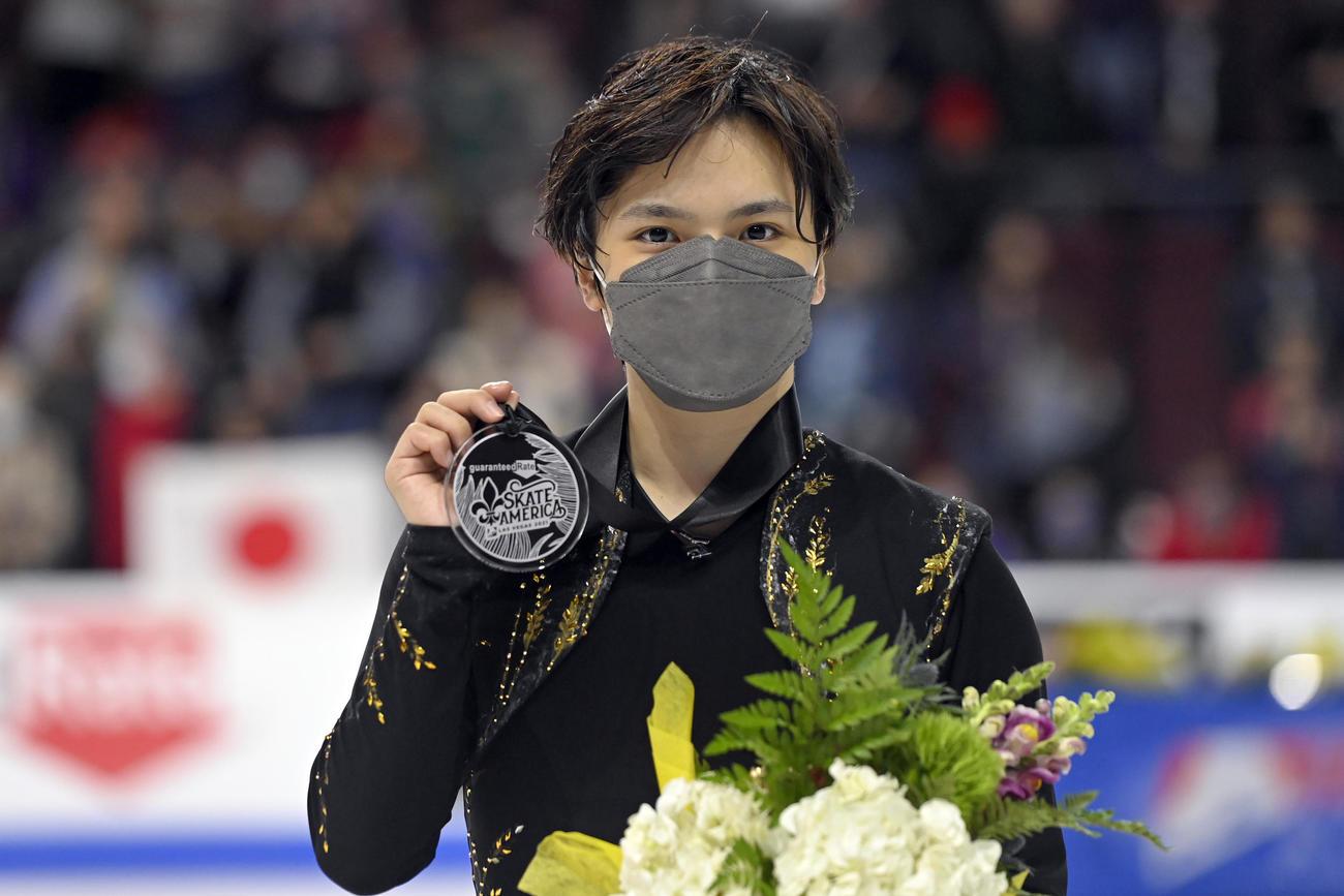 スケートアメリカで銀メダルを獲得した宇野昌磨(AP)